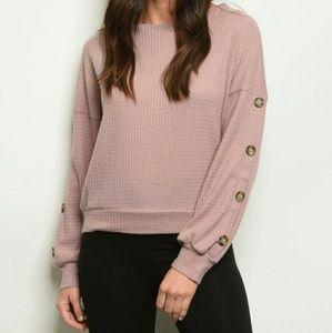 NWT Mauve Waffle Knit Button Sleeve Sweater